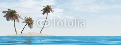 high resolution mall isolated island with palm trees