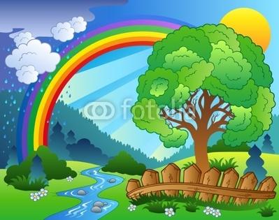 Configurar fotomural paisaje con el arco iris y el rbol - Paisajes infantiles para decorar paredes ...
